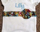 Custom Onesie  with Paisley Ribbon and Fabric Flower
