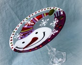 Cake Stand / Cupcake Stand /Dessert Pedestal / Decorative Stand -Colorful metallic snowman. perfect for the holidays
