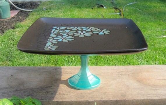 Cake Stand / Cupcake Stand / Dessert Pedestal / Decorative Stand Teal/Aqua/Black/Floral
