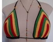 Rasta Long Necklace, Weed Leaf or Peace Sign Dangled Adjustable Length