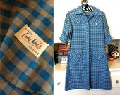 vintage 70s 60s blue gray gingham Western detail shirt DRESS indie S/M