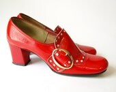 Vintage 60s MOD red vinyl chunky Buckle heels SHOES womens 6