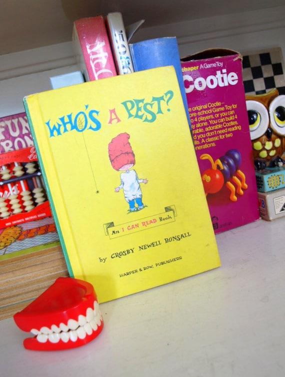 1962 vintage childrens book WHOS A PEST illustrated I Can Read primer book
