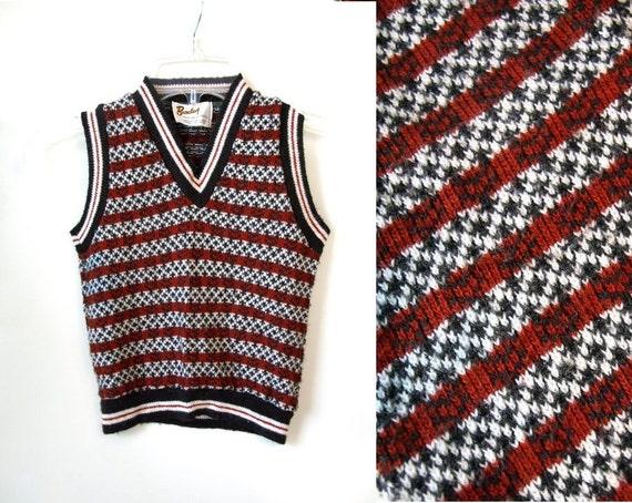 vintage 70s boys black brown V NECK Sweater VEST top mod 4T 4 5 youth S