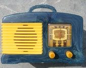 On Hold FADA Radio Catalin Bakelite Tube sw-57 L56 BLUE & Yellow Catalin Bakelite Tube Radio 1930's