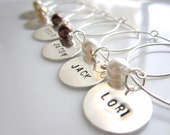 Set of  6  - Personalized Hand Stamped Custom  Wine Glass Charms -  Perfect for a Holiday or Hostess gift