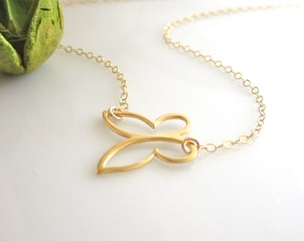 Gold Butterfly Necklace, Vermeil Butterfly Necklace, Minimalistic Jewelry, Butterfly Necklace, Mother, Best Friends Gift, Wife Gift,