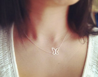 Butterfly Necklace, Sterling Silver Butterfly Necklace, All Sterling Silver, Any time Necklace, Bridesmaid gift, Mothers Necklace