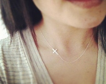 Cross Necklace, Sterling Silver Sideways Cross Necklace, Linked Cross Necklace, All Sterling Silver, Everyday Jewelry, Faith Cross Necklace