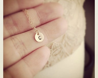 14K Gold Initial Necklace / Tiny Cute 14K Gold Filled Initial Necklace / Personalized Initial Necklace /Any time Necklace / Bridesmaids Gift