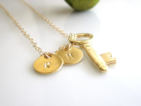 Two Gold Custom initials - Everyday Jewlery -Two Initial with Key Charm Necklace - Personalization