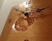 Spanish Mahogany Marine Corps Wall Clock