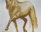 Horse Watercolor Original Art in Mat