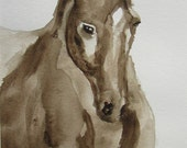 Watercolor Dressage Horse Painting in 11 x 14 Mat -On the Bit