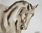 Watercolor Dressage Horse Painting in 11 x 14 Mat -On the Bit 2