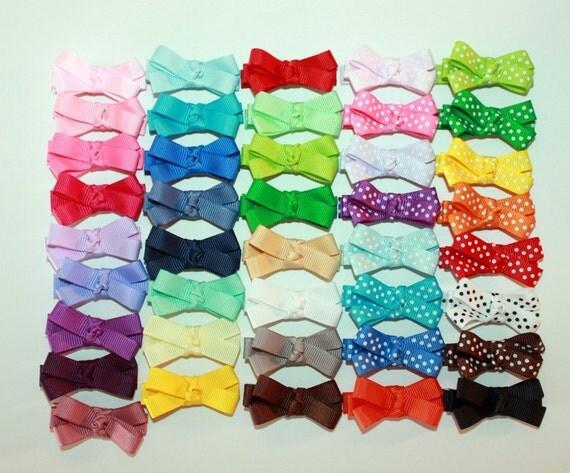 Baby Hair Bows - Set of 5 / Toddler Hair Clips / Baby Hair Clips / Newborn Hair Bows with no Slip Grip