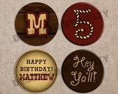 "Western Cupcake Toppers - Printable Digital 2"" Circles - To Match Birthday Invitation"