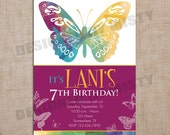 Girls Watercolor Butterfly Birthday Invitation - 5x7 Printable Digital Design