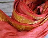 Red Silk Sari Scarf silk Red Scarf spring scarf