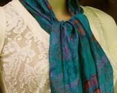 SALE Silk scarf, Scarf, Autumn Scarf, Blue Scarf