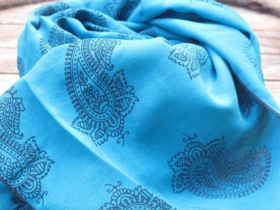 SALE Blue Silk Scarf woman top accessories