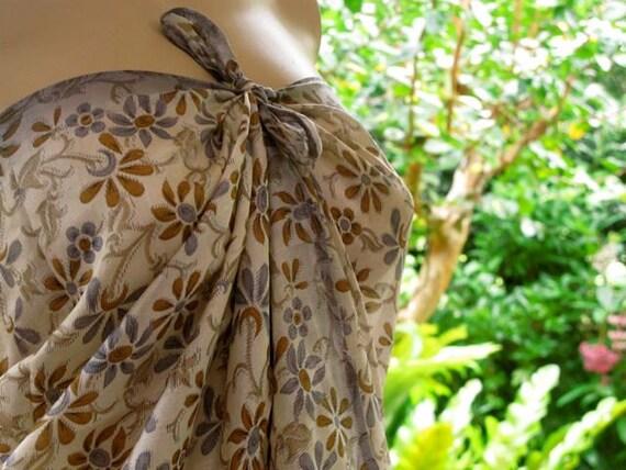 Floral Silk Sarong, Silk Scarf, Silk Sari Scarf, Pareo