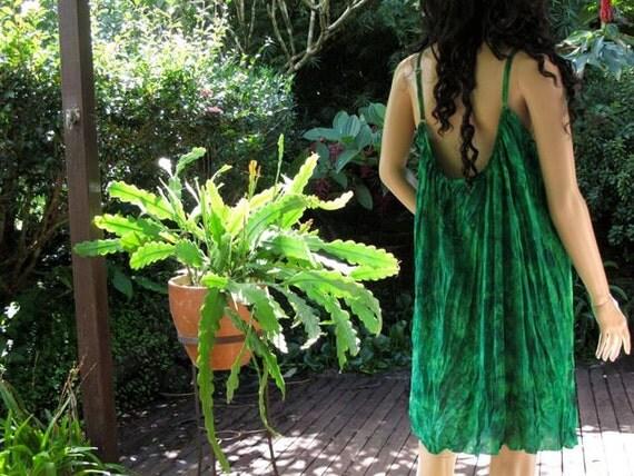 Silk Dress, Emerald Green Dress, Silk Slip, Summer Dress