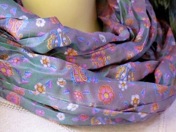 Silk scarf, Infinity Scarf, Sari scarf, Loop Scarf