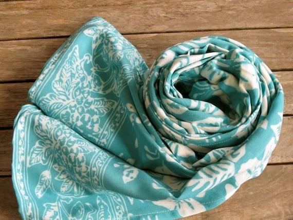 Batik Scarf, Autumn Scarf, Head Scarf, Blue Scarf