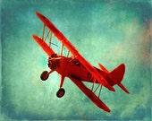 Vintage Airplane Art Print - Nursery Boys Room Red Aqua Blue Biplane Flying Aviation Home Decor Photograph