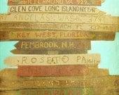 Key West Florida Beach Sign Art Print - Vintage Beach Brown Aqua Direction Wall Art Beach House Photography