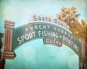 Vintage Santa Monica California Beach Sign Art Print - Blue Pink Bokeh Retro Ocean Beach House California Home Decor Photograph
