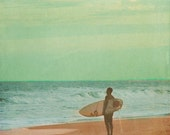 Vintage Surfer Art Print - Green Blue Beach House Wall Decor Vintage Ocean Surf Photograph