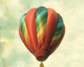 Hot Air Balloon Art Print  - Whimsical Nursery Childrens Room Decor - Clouds Sky Red Photo