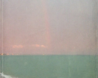 Beach Rainbow Photograph - Vintage Green Blue Sky Rain Ocean Print -  Photo
