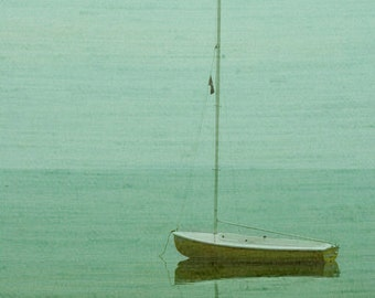 Vintage Sailboat Art Print - Green Aqua Beach Ocean Lake Art Surreal Home Decor Wall Art Soft Foggy Photograph