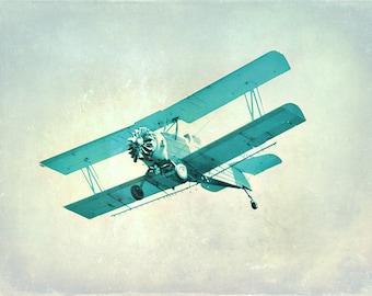 Vintage Airplane Nursery Print - Blue Aqua Boys Childrens Room Decor Aviation Flying Photograph