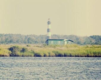 Bodie Island Lighthouse Photograph - Outer Banks North Carolina Beach- Blue Green Nautica Dreamy Vintage Ocean Art Print