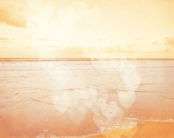 Beach Dreamy Pastel Art Print - Peach Orange Pink Soft Heart Bokeh Nursery Girls Room Beach House Home Decor Wall Art Ocean Love Photograph