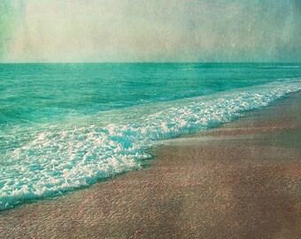 Vintage Beach Art Print - Aqua Tan Beach House Wall Art Whimsical Home Decor Photograph