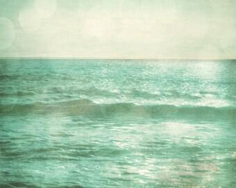 Ocean Art Print - Bokeh Teal Green Blue Aqua Dreamy Whimsical Surreal Sun Reflecton Waves Beach Photograph