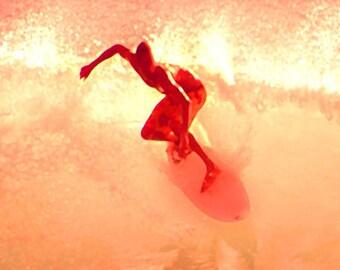 Surfing Art Print - Orange Red Peach Pink Beach House Home Decor Wall Art Photograph
