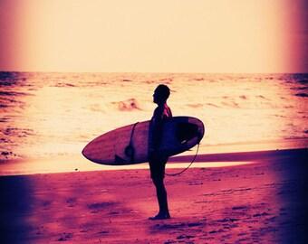 Surfer Silhouette Art Print - Beach Retro Purple Orange Yellow Peach Surf Art Beach House Decor Surfing Photograph