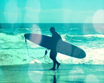 Surf Bokeh Art Print - Aqua Silhouette Surfing Beach House Wall Art Home Decor Photograph