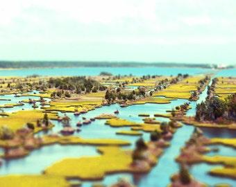 Intercoastal Waterway Tilt Shift Art Print - Aqua Green Water Marsh Wetland Islands Beach Geometric Photograph