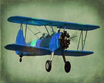 Vintage Blue Airplane Art Print - Antique Biplane Nursery Boys Room Decor Aviation Flying Sage Green Photograph
