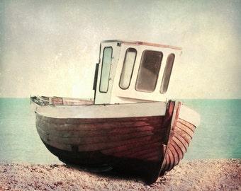 Vintage Boat Art Print - Brown Aqua Retro Beach Blue Beach House Decor Wall Art Ocean Photograph