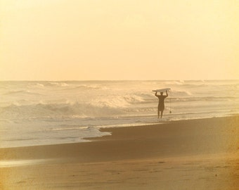 Surfing Beach Art Print - Soft Pastel Yellow Peach Silhouette Surf Art Beach House Decor Sunset Photograph