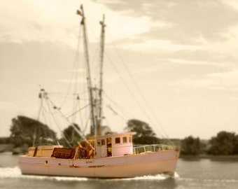 Shrimp Boat Art Print - Sepia Nautical Fishing Beach House Home Decor Wall Art Photograph