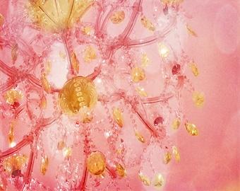 Chandelier Pink Art Print - Yellow Gold Crystals Nursery Girl Room Home Decor Paris Shabby Chic Wall Art Photograph